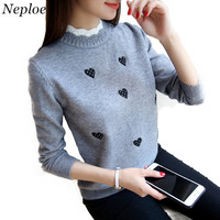 Neploe Autumn New Pullover Short Knitted Tops Women Korean Lace Collar Sweater Lady Embroidery Temperament Slim