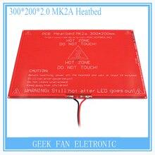 Больше! новый ПЕЧАТНОЙ ПЛАТЫ Heatbed MK2A со светодиодной Резистор и кабель для 3D RepRap принтер ПАНДУСЫ 1.4 кровать 300*200*2.0 XT0359-3D S101
