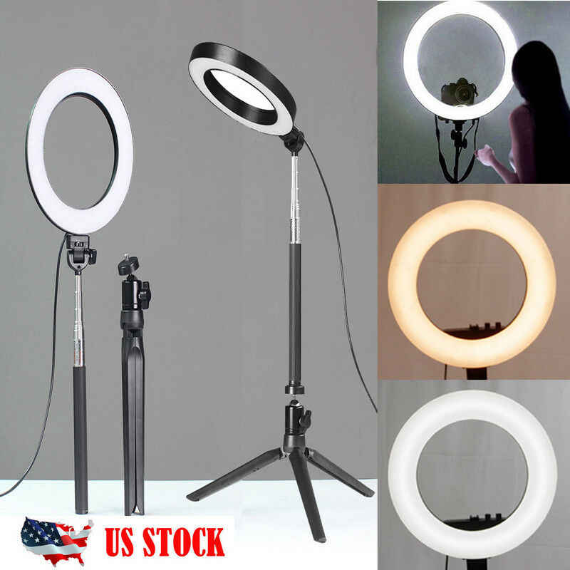 LED Ring Light Dimmable Lamp Tripod Stand Selfie Camera Phone Holder Desktop Camera YouTube Video Makeup Studio Photography