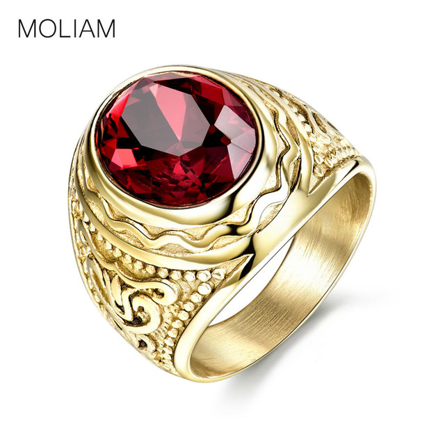 MOLIAM Retro Gothic Cool Male Rings with Red Stone Stainless Steel Ring For Men
