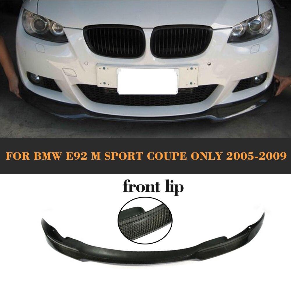 3 Serise Carbon Fiber Car Front Bumper Lip spoiler For BMW E92 M Sport Coupe Only 2005 2006 2007 2008 2009