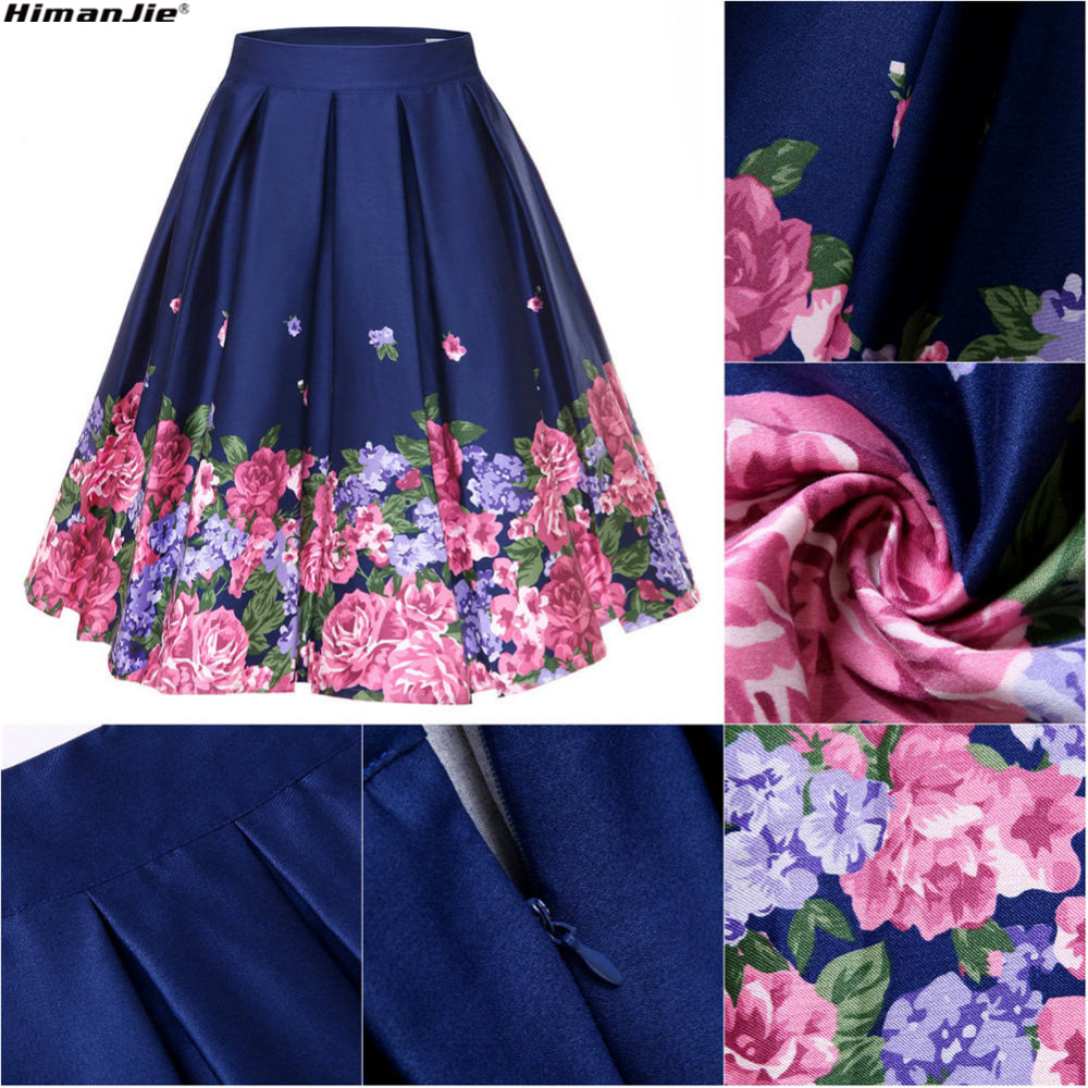 High Quality Products Fashionable Vintage Floral Print 2018 Summer New 50s 60s Retro Lady Fruit Ice Cream Dot Lobster Waist