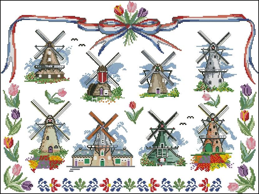 Hand 14CT 16CT 18CT Kreuz Stich, DIY Zählen Kreuz Stich, Stickerei Set, windmühle