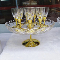 New Special 10 Pcs Golden Shot Glass Set Classical Metal Wine Cup Plated Gold Fruit Plate Small Mug Crystal White Wine Glass Cup