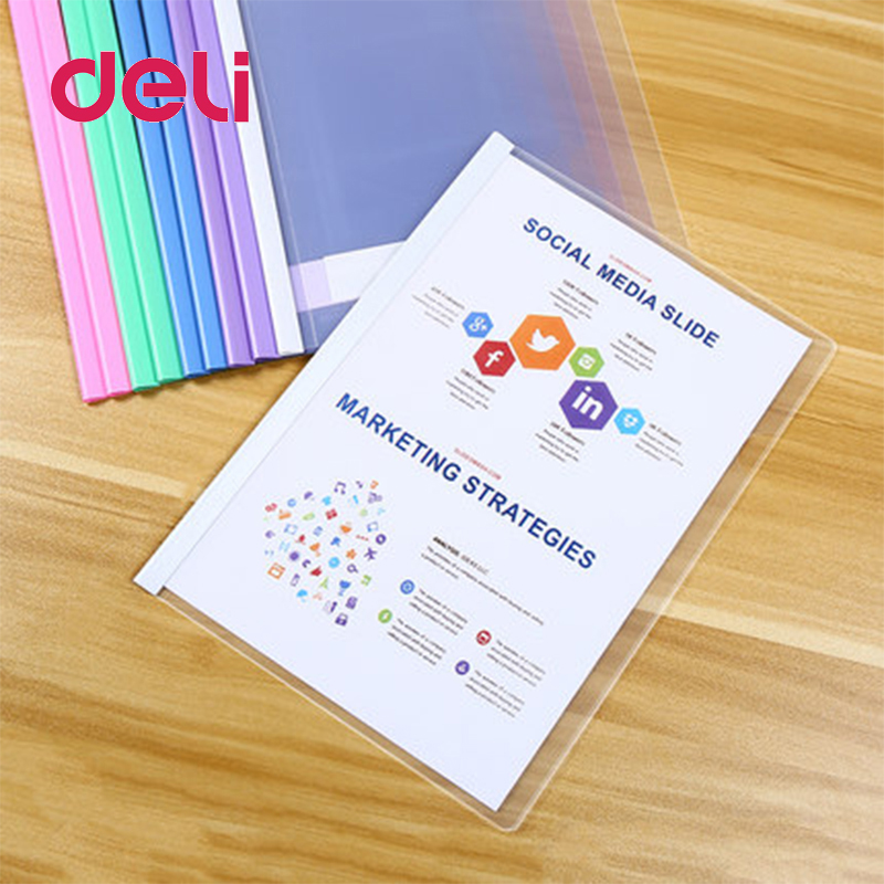 Deli 10pcs/set Report Cover Opaque Document Clamp Triangle Match The Transparent Sheet Colorful Light And Flexible Cover Clamps