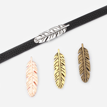 10pcs Large Leaves / Large Feather Shape Slider Spacers Jewelry Material DIY 5mm 10mm Flat Leather Cord Charm For Jewelry Making