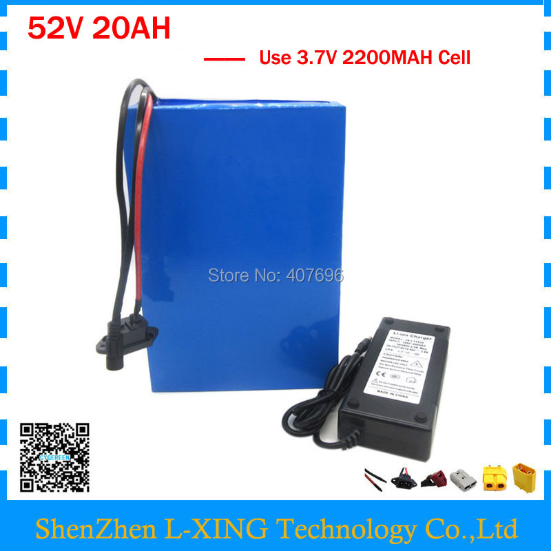 Free customs fee 1000W 1500W 52V battery 52V 20AH e scooter battery 52V 20AH Lithium E bike battery with BMS and charger free customs fee 1000w 36v 17 5ah battery pack 36 v lithium ion battery 18ah use samsung 3500mah cell 30a bms with 2a charger