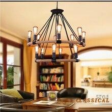 Lámpara colgante de cuerdas de cáñamo Retro Vintage, accesorio antiguo de hierro para Loft, lámpara colgante para sala, restaurante, Bar, decoración colgante hecha a mano