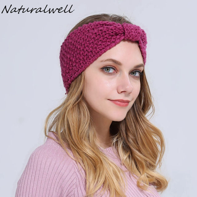 Naturalwell patrón de ganchillo diadema mujeres punto turbante chica ...
