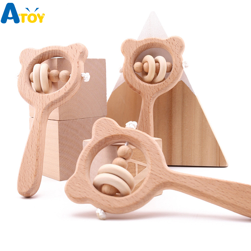 Baby Natural Wooden Teething Ring Teether Rattle Play Hand Bell Toy HD