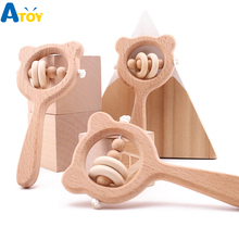 Baby Toys Beech Wood Bear Hand Teething Wooden Ring Can Chew Beads Baby Rattles Play Gym Educational Toys Wood Safe Rattle Gift froebel education gabe 2 beech wood sensory toys early educational toys can smarter