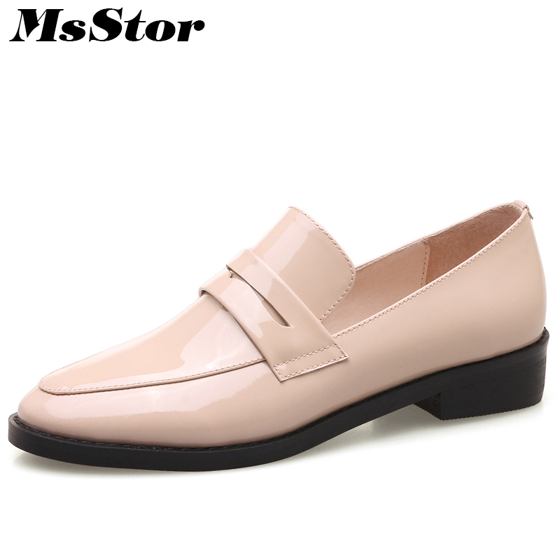 MsStor Women Shallow Loafers Leather Shoes Fashion Casual Women Flat Shoes 2018 Spring Round Toe Slip On Solid Women Flats new shallow slip on women loafers flats round toe fishermen shoes female good leather lazy flat women casual shoes zapatos mujer