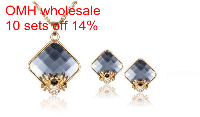 OMH wholesale <font><b>18</b></font> kt Austrian crystal fashion <font><b>sexy</b></font> spider necklace Earrings Women <font><b>girls</b></font> gift Jewelry sets TZ17 image