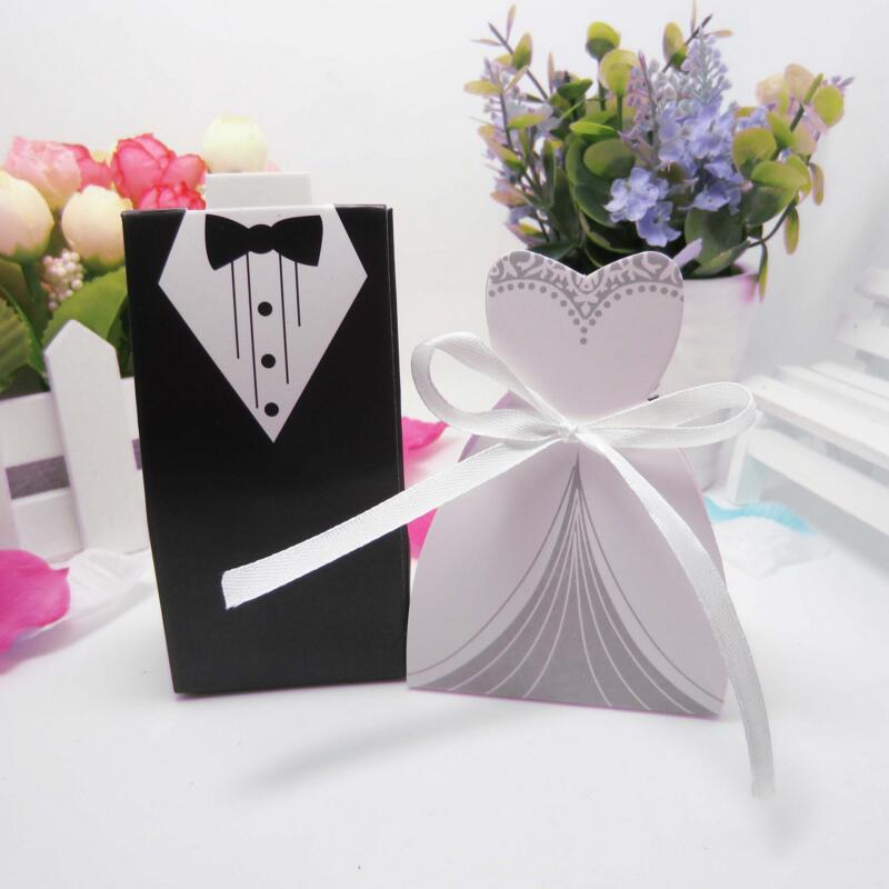 6pairs Diy Bridal Gift Cases Groom Tuxedo Dress Gown Ribbon Wedding