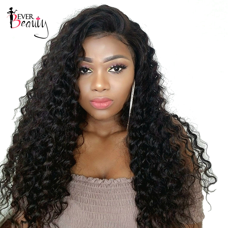 Ever Beauty 250% Density Lace Front Human Hair Wigs Brazilian Curly Remy Hair 14-24inch Natural Black Color