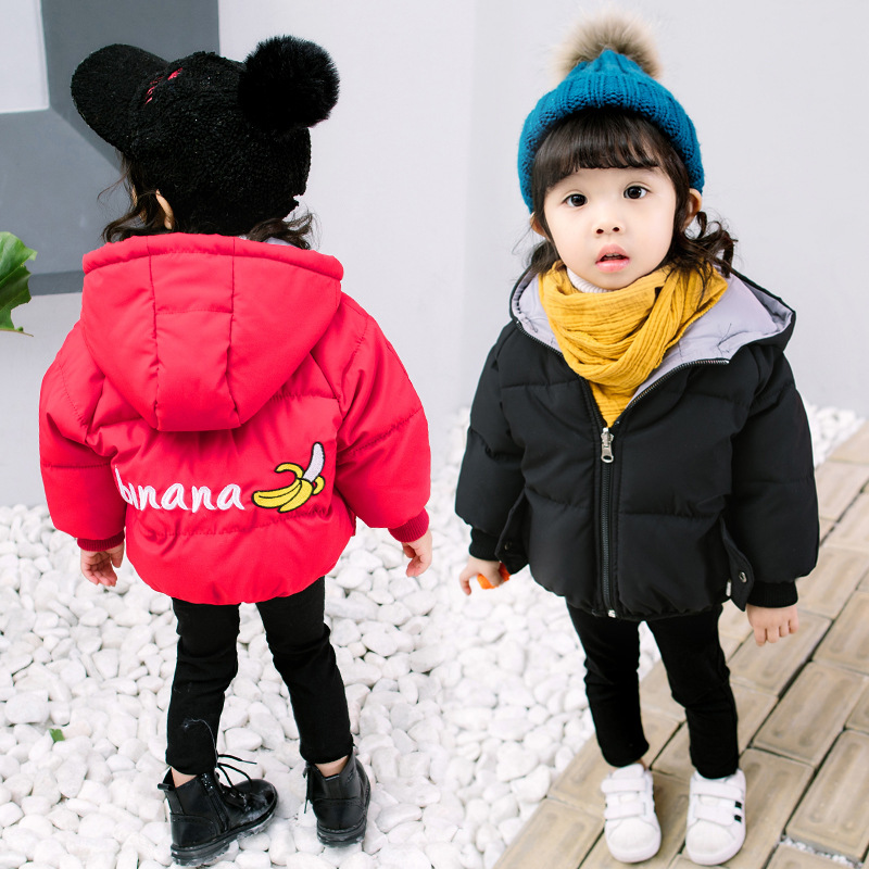 Winter Boys Jacket Thickening Two Kinds Wearing of Way Childrens Cotton-padded Coat Embroidery Banana Outerwear Girl Jackets