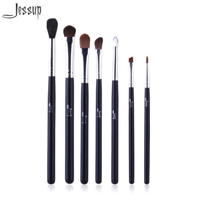 Professional 7pcs Black/Silver Jessup Brand Makeup Brushes Set Beauty Eyeshadow Concealer Blending  Cosmetics Make up Tools Kit
