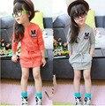 kids dresses for girls 2017 spring long sleeve cute rabbit princess dress mini orange gray kid girls Casual clothing DY141A