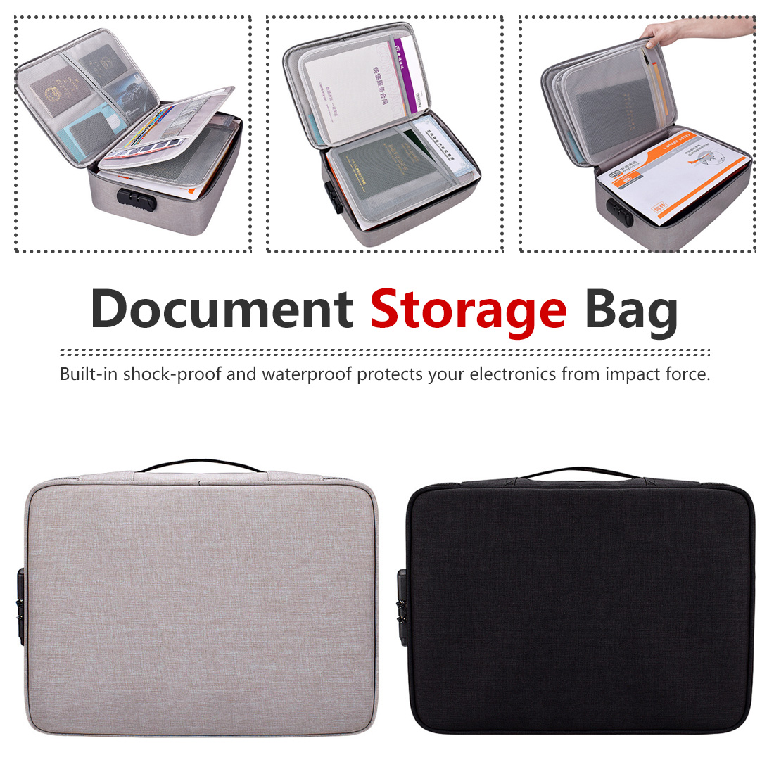 Oxford Waterproof Document Bag Organizer Papers Storage Pouch Credential Bag Diploma Storage File Pocket With Separator