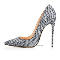 2019 Fashion Women Lady Grey White Python Snake Leather Poined Toe Stiletto High Heel Pump Female Party Dress Shoes Plus Size 43
