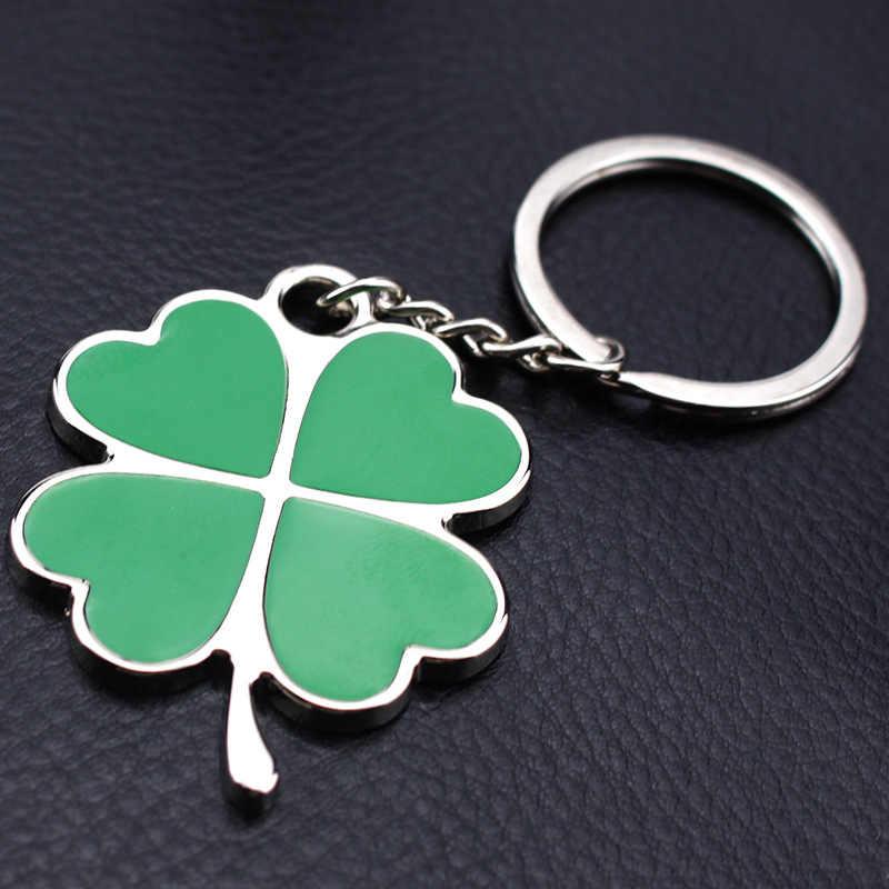 Moda Creative Green folha pétalas Trevo da sorte chaveiro de Metal Chave Anel Chave anel chave do carro Cadeia Requintado presentes criativos