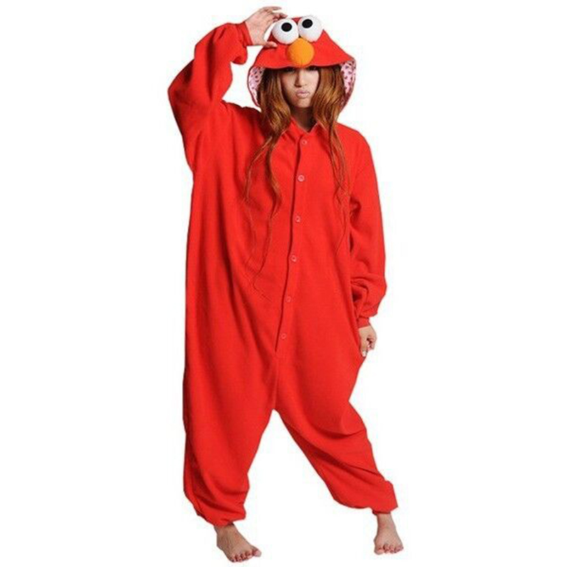 Fashion Sesame Street Cookie Monster Onesies Red Elmo Costumes Fleece Cartoon Animal style Cosplay Pajamas Sleepwear Pyjamas