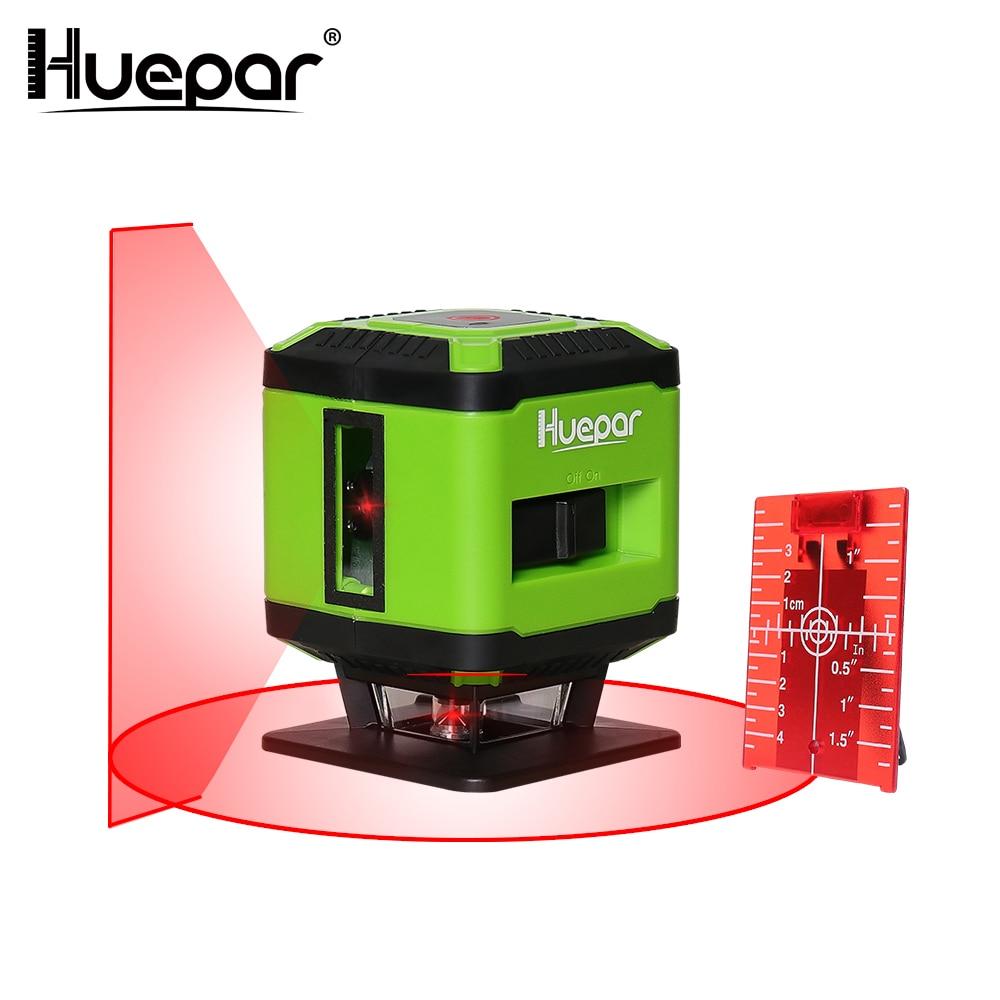 цена на Huepar Red Beam Floor Laser Level for Tile Laying Square Leveling Cross Line Laser Level + Huepar Laser Red Target Plate Card