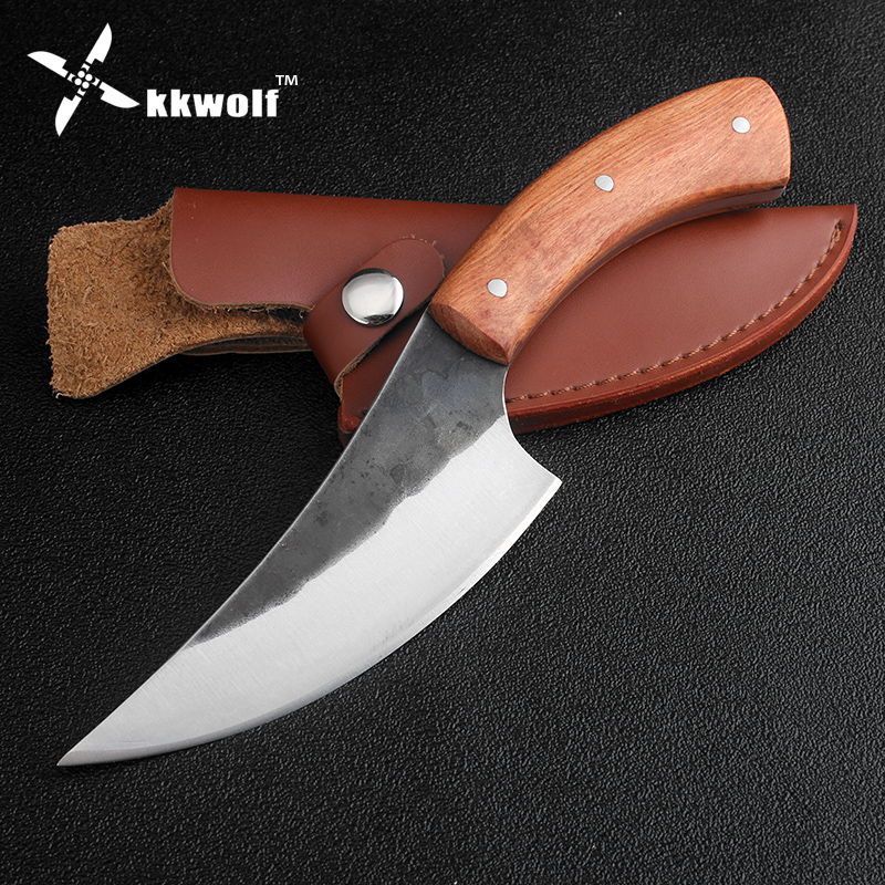 KKWOLF High carbon steel fixed hunting knife Beef Pork knife 58HRC Rosewood handle sharp survival camping tactical rescue knives