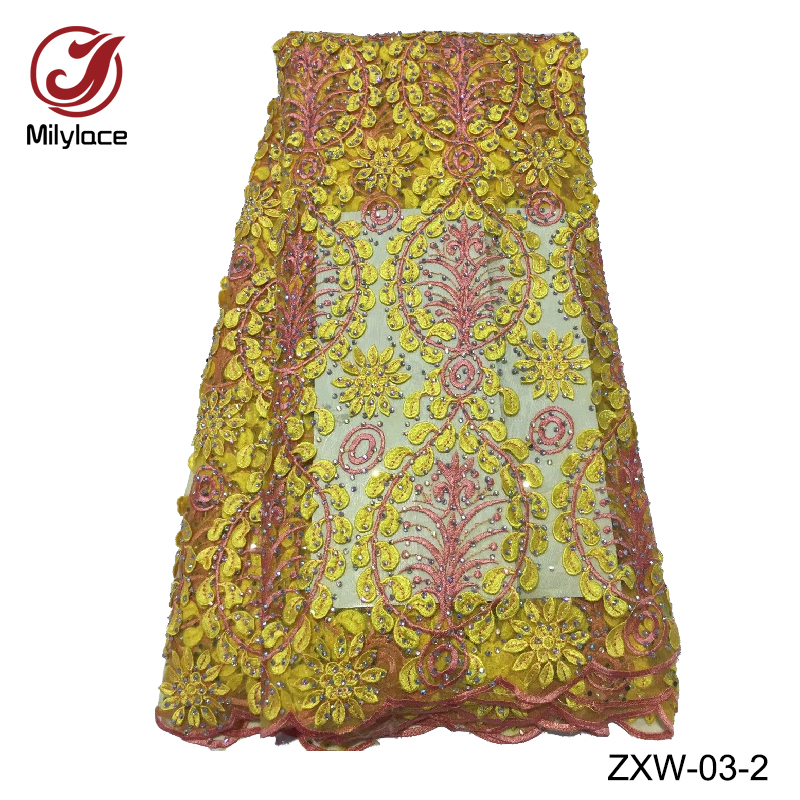 Hot selling nigerian tissue lace material embroidery lace fabric with stones french tulle lace fabric for party ZXW 03
