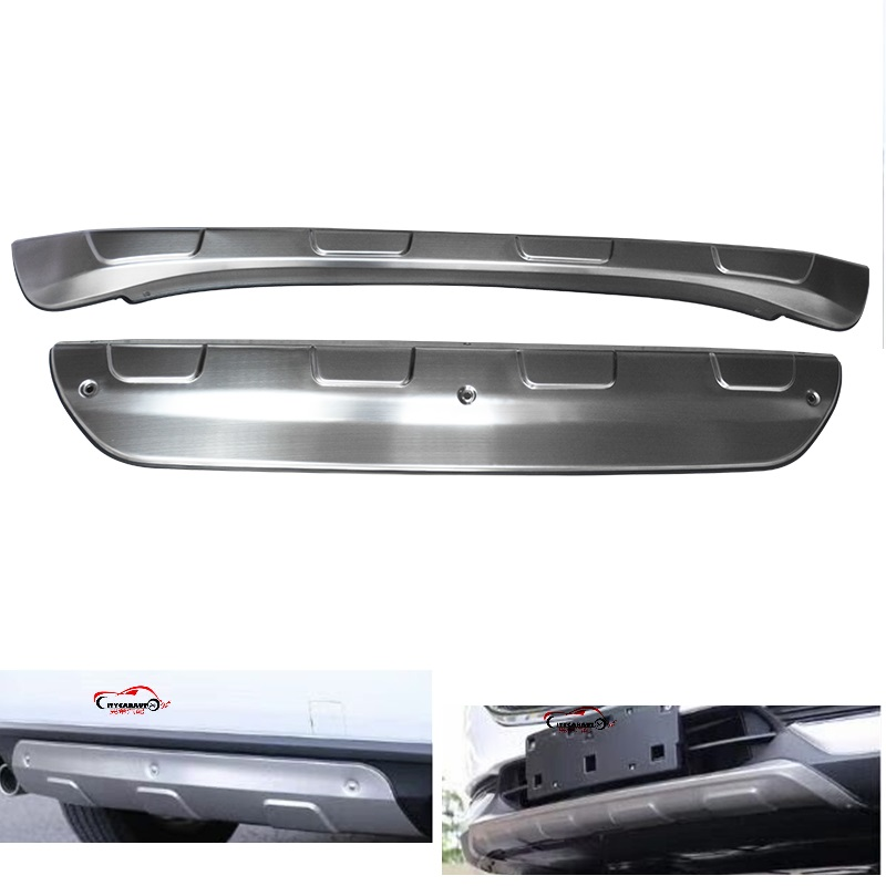 FRONT REAR BUMPER Stainless Steel Accessories Exterior Front Rear Skid Plate Bumper Board sticker 2Pcs fit for mazda cx-5 cx5 26pcs stainless steel outer front bumper