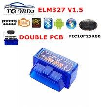 Hardware Super Mini Elm327 V1.5 Chip PIC18F25K80 Bluetooth ELM 327 V1.5 lector de códigos para automóvil, herramienta de diagnóstico para Android/Symbian