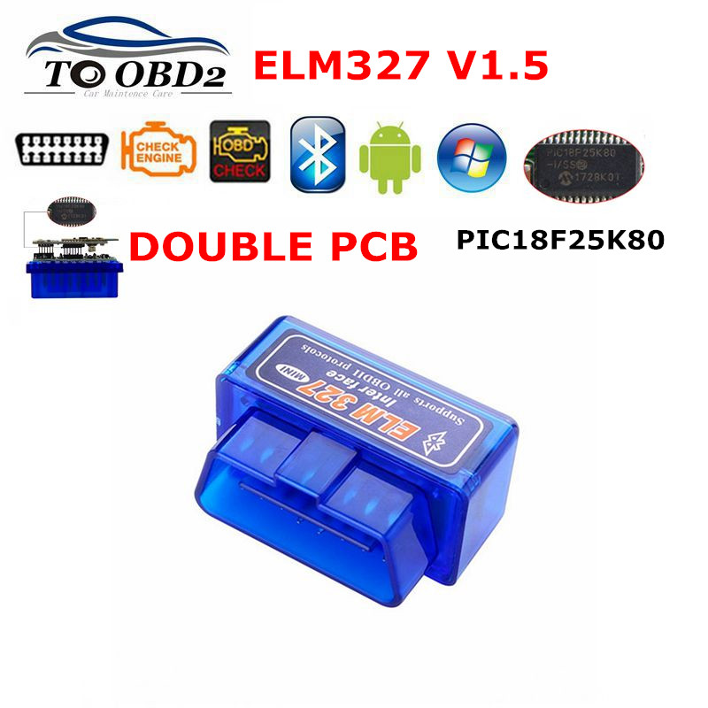 Super Mini Elm327 Hardware V1 5 Chip PIC18F25K80 Bluetooth ELM 327 V1 5 Auto Code Reader Car Diagnostic-Tool For Android Symbian