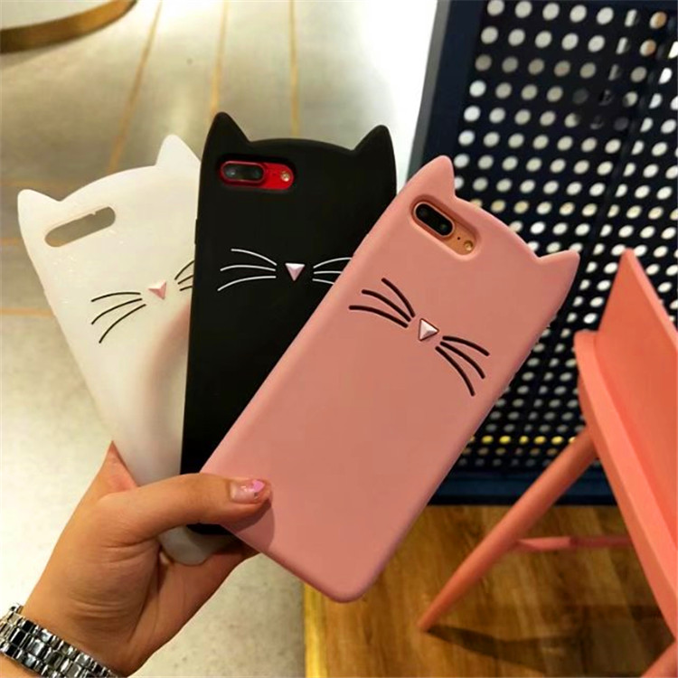 Cartoon Silicon Japan Cat Case for iPhone 7 Plus Case 8 6 6s 5 5S SE X XR XS Max 4 4s Case Simple Beard Cat Phone Back Cover