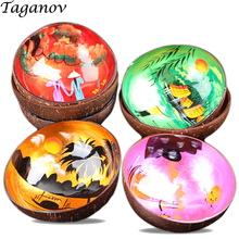 5Pcs / Lot Coconut Shell Bowl Freehand Sketching Colorful Decoration Candy Bowls Food Container Chinese Landscape Painting gifts simple style coconut tree freehand sketching pattern pillowcase