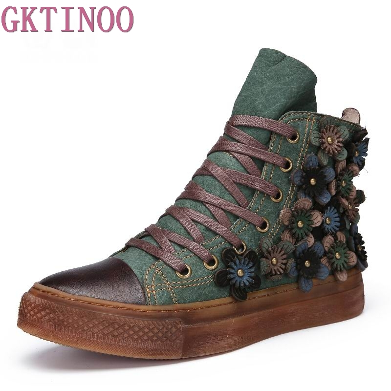 GKTINOO Autumn Winter Women Ankle Boots Genuine Leather Retro Handmade Shoes Footwear Lace-Up Women Flat Comforable Shoes
