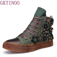 GKTINOO Autumn Winter Women Ankle Boots Genuine Leather Retro Handmade Shoes Footwear Lace Up Women Flat