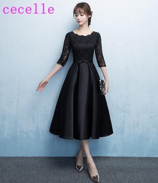 2018 Black Vintage Tea Length Modest Bridesmaid Dresses