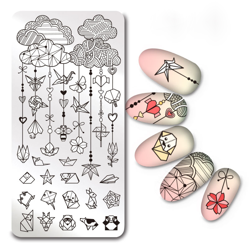 1Pc Rectangle Stamping Plate Origami Pattern Manicure Nail Art Plate Harunouta L040