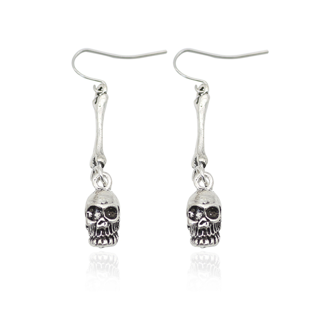 Vintage Punk Skull Tassel Earrings Textured Skull Bones Earrings For Women  Skeleton Earings Fashion Female Jewelry ae0e4c1cf112