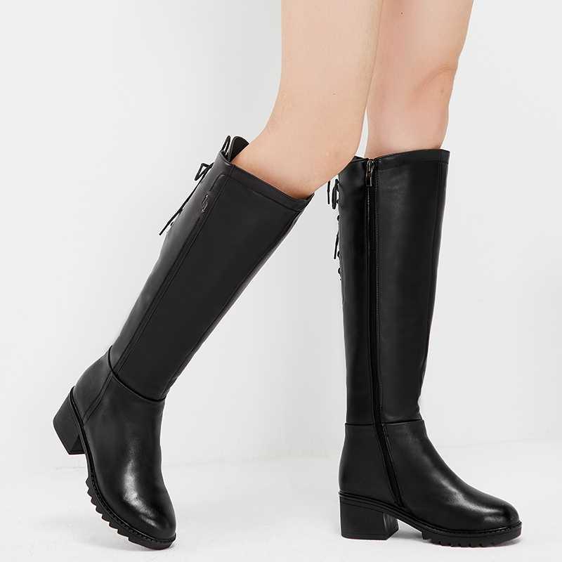 MORAZORA รัสเซีย 2019 ของแท้หนังแท้รองเท้า Lace Up คุณภาพสูงเข่าสูงรองเท้าผู้หญิงขนสัตว์ WARM Winter Snow BOOTS ผู้หญิง