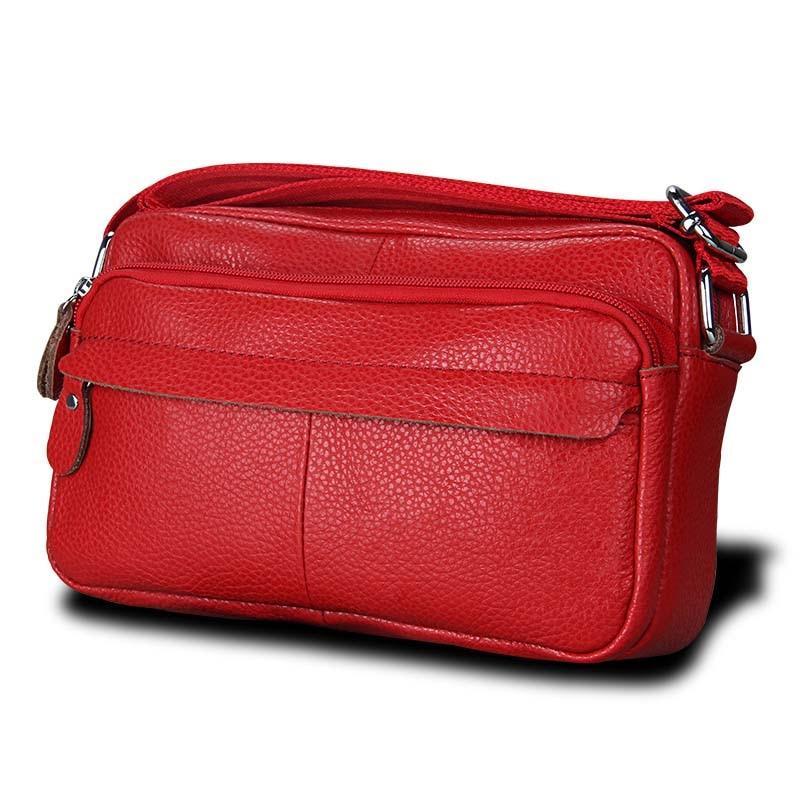 Genuine Cow Leather Casual Women Handbags Korean Single Zipper Solid Messenger Bags Soft Phone Pocket Crossbody Female Box Bag