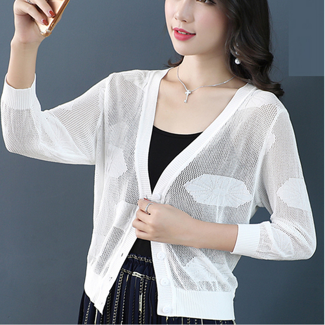 b566ba920 Women New Style Spring Summer Cool White Cardigan Fashion Knitted Brife  Beach Short Cardigans Outfit Tops