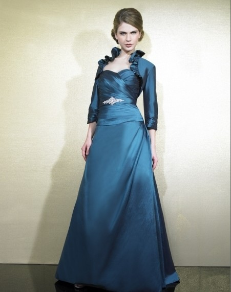 2018 New Design Vestidos De Festa Blue Long Party Evening Elegant Dresses Formal Gowns Mother Of The Bride Dresses With Jacket
