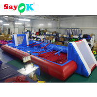 10x5m PVC Inflatable Football Field Red and Blue Soccer Field with Blower for Adults/Children Football Pitch Outdoor/Indoor Game