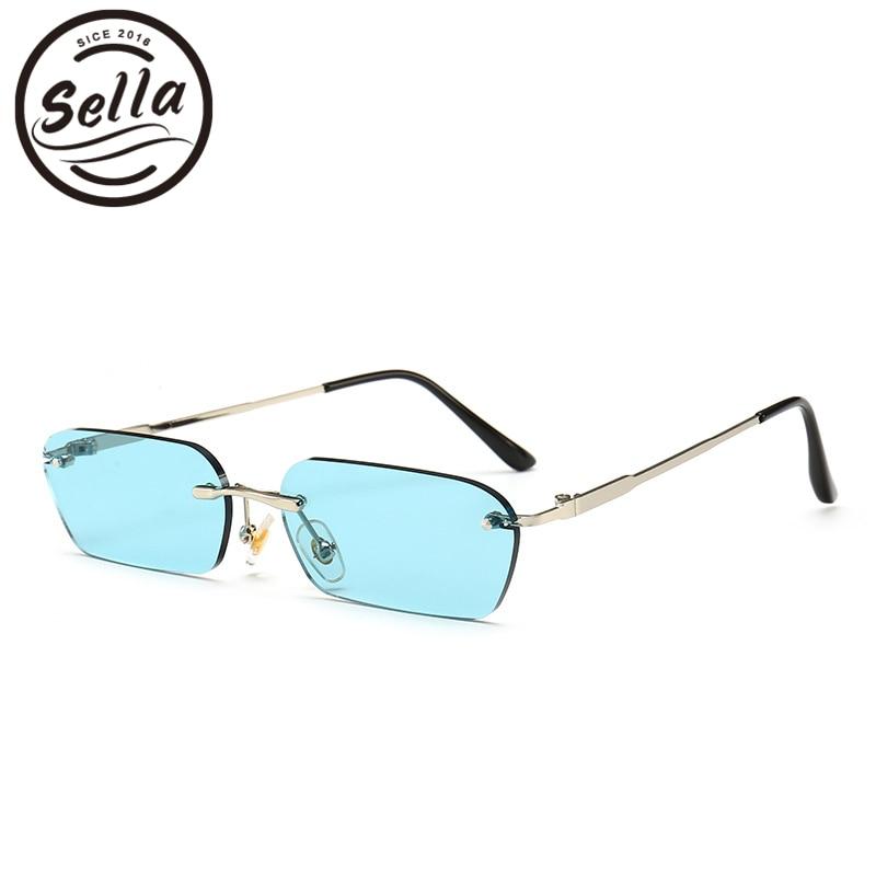 Sunglasses Fashion Shade Tint-Lens Square Rectangle Rimless Narrow Trending Pink Small