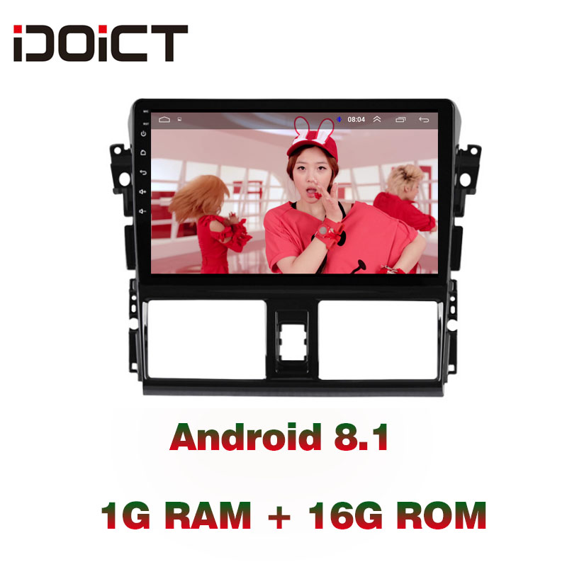 IDOICT Android 8.1 Car DVD Player GPS Navigation Multimedia For Toyota Vios Yaris Radio 2014 2016 car stereo bluetooth
