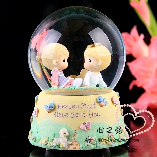 String drop doll rotating crystal ball music box valentine day gift