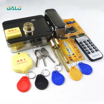 Newest IC/ID Electronic door gate lock integrated RFID card electronic door lock reading&rotating open +access card remote цена 2017