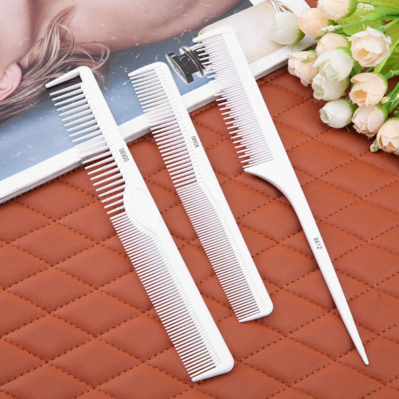 Professional 3pcs Hair Combs Kit White Salon Comb Brushes Anti-static Hairbrush Hair Styling Tool Set For Hair Salon