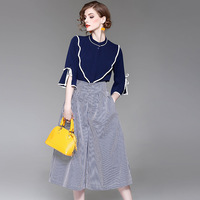 2017 New Fashion Women 2 Pieces Sets Flare Sleeve Tops Loose Striped Pants Elegant Brief Suits